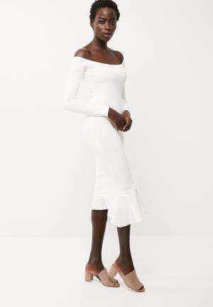 Bardot fishtail hem dress