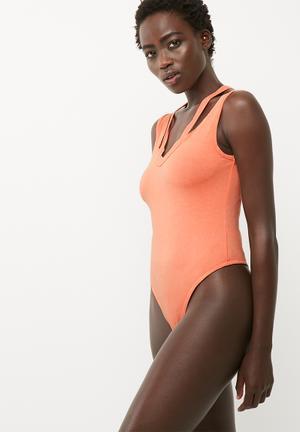 Washed deconstructed neck bodysuit