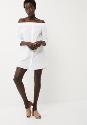 Jacqueline De Yong Tiffany Off Shoulder Dress Casual White