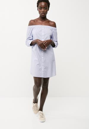 Jacqueline De Yong Tiffany Off Shoulder Dress Casual Blue & White
