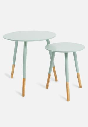 Present Time Graceful Table Set Medium Density Fibreboard With Bamboo