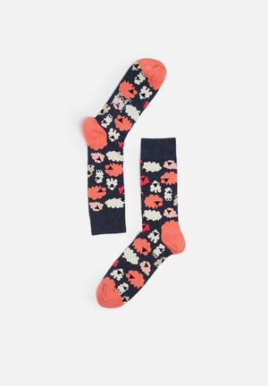 Happy Socks Iris Apfel Lamb Sock Navy, Orange & White