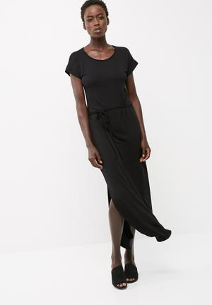 Viscose knit round neck maxi dress