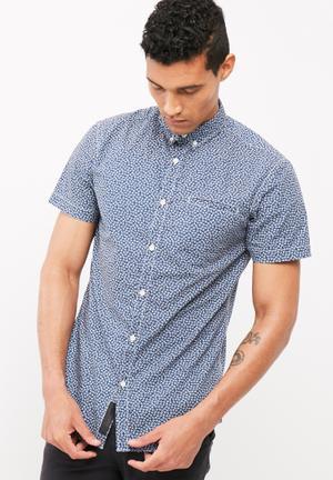 PRODUKT Mini Print Ss Shirt Blue & White