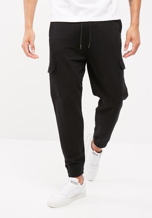 Basicthread Slim Cargo Jogger Sweatpants & Shorts Black