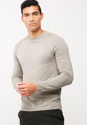 Selected Homme Tristan Crew Knit Knitwear Grey Melange