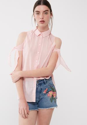 ONLY Cooks Long Shirt Dusty Pink & White