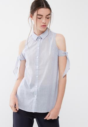 ONLY Cooks Long Shirt Blue & White