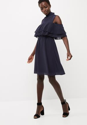 Y.A.S Chinz Cold Shoulder Dress Occasion Navy