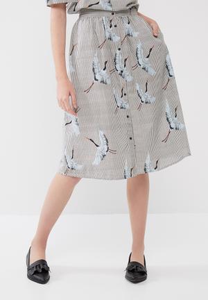 ONLY Beatrice Crane Skirt Black & White