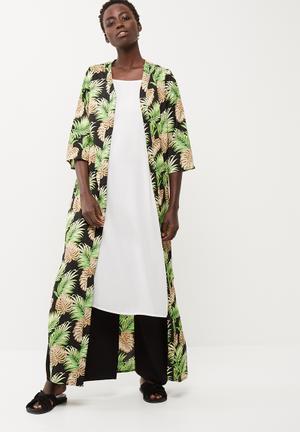 Noisy May Alex Long Kimono Jackets Black & Green