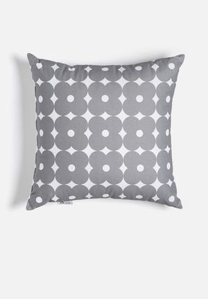 Retro daisy printed cushion