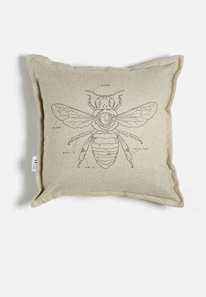 Sixth Floor Bee Printed Cushion 100% Linen