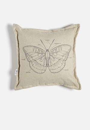 Sixth Floor Butterfly Printed Cushion 100% Linen