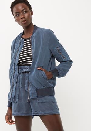 Vero Moda Zoe Tencel Bomber Jacket Blue