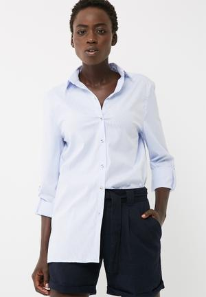 Dailyfriday Tab Roll Up Shirt Blue & White