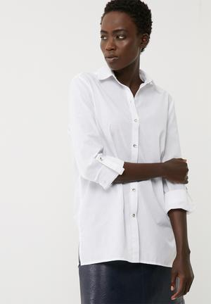 Dailyfriday Tab Roll Up Shirt White