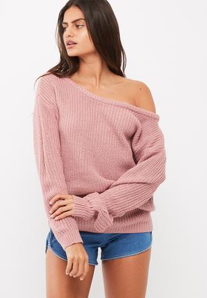 Missguided Off Shoulder Knitted Jumper Knitwear Pink