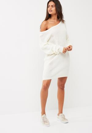 Missguided Off Shoulder Knitted Jumper Dress Casual Cream