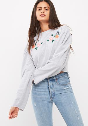 Missguided Puff Sleeve Applique Cropped Sweat T-Shirts, Vests & Camis Grey Melange