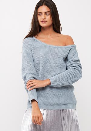 Missguided Off Shoulder Knitted Jumper Knitwear Blue