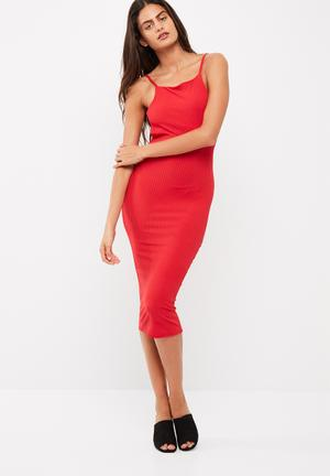 Missguided Square Neck Ribbed Open Back Midi Dress Occasion Red