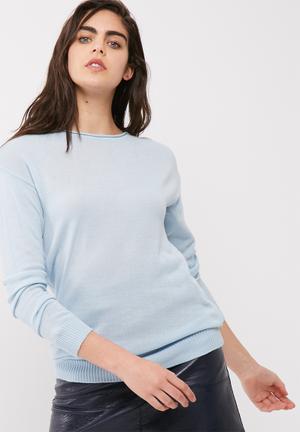 Dailyfriday Crew Neck Slouchy Knit Knitwear Soft Blue