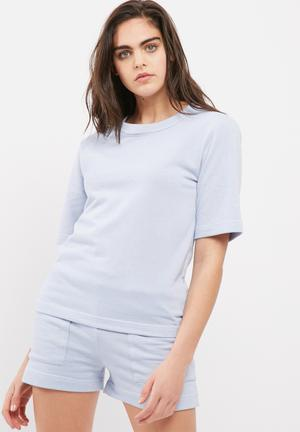 Dailyfriday Jamie Boxy Drop Shoulder Tee T-Shirts Soft Blue