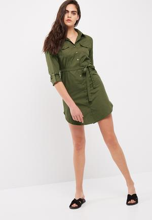 Dailyfriday Poplin Shirt Dress With Self Fabric Tie Belt Formal Khaki