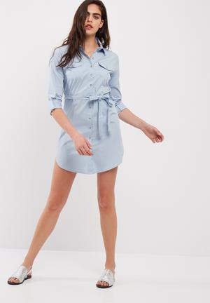 Dailyfriday Poplin Shirt Dress With Self Fabric Tie Belt Formal Pale Blue