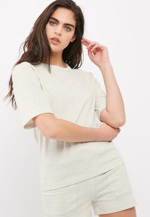 Dailyfriday Jamie Boxy Drop Shoulder Tee T-Shirts Light Grey