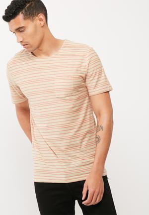 Only & Sons Sean Regular Fit Tee T-Shirts & Vests Beige & Red
