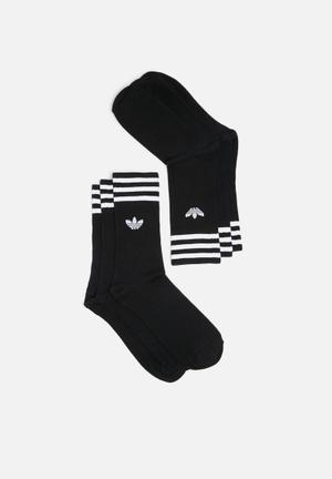 Adidas Originals Solid Crew 3 Pack Socks Black & White