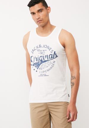 Jack & Jones Statement Regular Fit Tank T-Shirts & Vests White & Blue