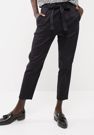 Dailyfriday Self Tie Cigarette Pants Trousers Dark Navy