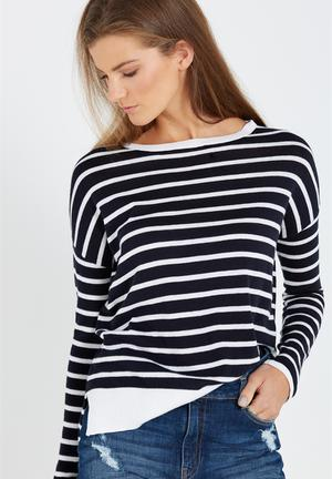 Cotton On The Everyday Fine Gauge Knit Knitwear Navy & White