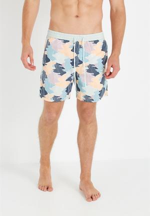Cotton On Hoff Shorts Swimwear Blue, Yellow & Coral