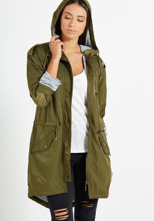 Cotton On Lana Shinny Long Line Anorak Jackets Khaki