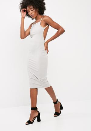 Missguided Square Neck Ribbed Open Back Midi Dress Occasion Grey