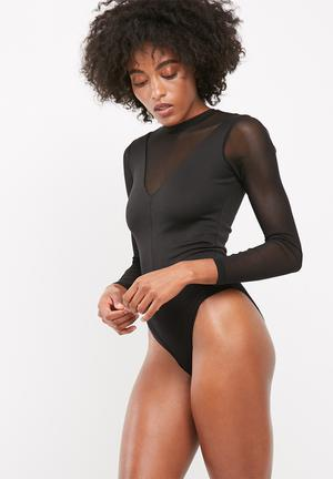 Dailyfriday Mesh Inset Bodysuit With Long Sleeves T-Shirts, Vests & Camis Black
