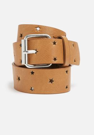 Missguided Cut Out Star Belt Tan