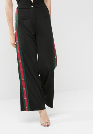 Missguided Sports Side Stripe Popper Detail Wide Leg Trousers Black, Red & Green