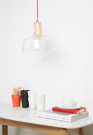 Illumina Scandi Pendant Lighting Glass, Wood & Fabric Cord