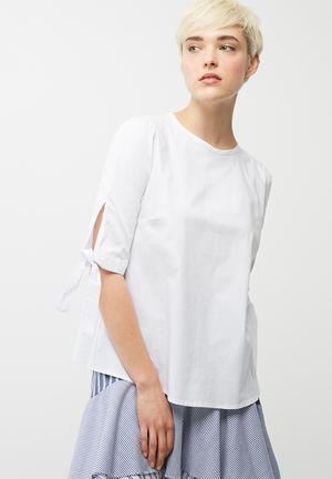 Dailyfriday Poplin Blouse With Tie Sleeve White