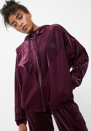 Adidas Originals Sailor Oversized Velour Hoodie Hoodies, Sweats & Jackets Plum
