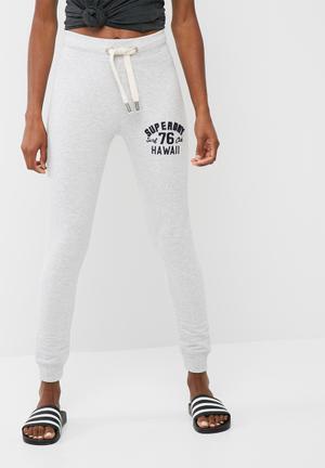 Superdry. Applique Super Skinny Jogger Trousers Grey Melange