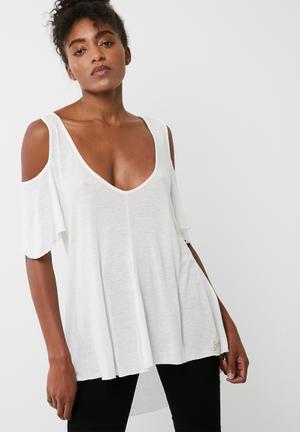 Superdry. Boho Off Shoulder Top T-Shirts, Vests & Camis Off White