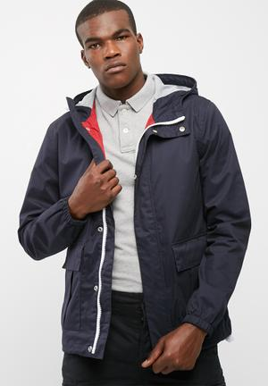 Superdry. New York Harbour Coat Navy, Red & White
