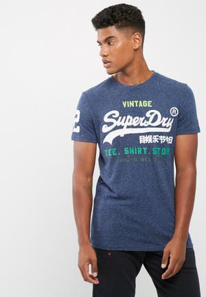 Superdry. Shirt Shop Tee T-Shirts & Vests Navy Melange