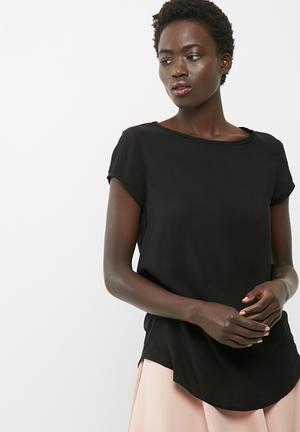 Dailyfriday Open Back Shell Top Blouses Black